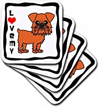 3dRose CST_12066_1 I Love My Brussels Griffon Brown Soft Coasters, Set of 4
