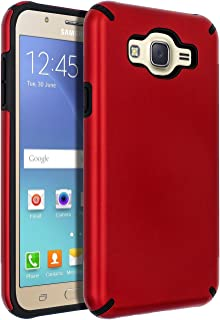 Galaxy J7 (2015) Case,Galaxy J7 Case,SENON Slim-fit Shockproof Anti-Scratch Anti-Fingerprint Protective Case Cover for Samsung Galaxy J7 Neo J700,Red