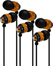 Bastex Universal Gold Earphone/Ear Buds (3 pk),3.5mm Plug, Bass Stereo Headphones in-Ear,Tangle Free Cable, with Built-in Microphone Earbuds for iPhone iPod iPad Samsung Android Mp3 Mp4 and More
