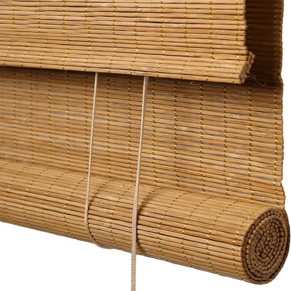 Bamboo Outstanding Roll Up Blind Lined Shades Roller Filtering Light Hand- Rapid rise