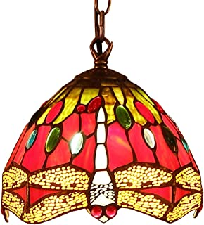 BIEYE L10083 Dragonfly Tiffany Style Stained Glass Ceiling Pendant Fixture with 7-inch Wide Lampshade (Red)