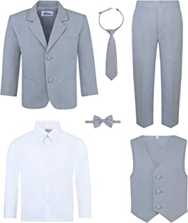 Boy's 6-Piece Suit Set - Includes Suit Jacket, Dress Pants, Matching Vest, White Dress Shirt, Neck Tie & Bow Tie