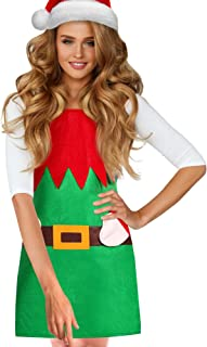 Syhood Christmas Elf Apron Party Costume Green Elf Apron for Kitchen, Cooking, Baking, Art Craft, Painting and Christmas Party Supplies for Adult, 30 x 22 Inch