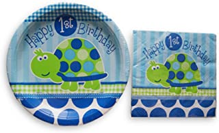 Boys First Birthday Party Supply Kit - Napkins and Plates