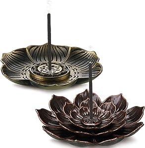 2 Pieces Lotus Stick Incense Burner Brass Lotus Incense Holder Detachable Ash Catcher Cone Incense Burner Holder for Home Office Fragrance Accessories Yoga Bedroom SPA