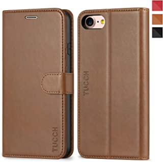 TUCCH iPhone 7 Wallet Case, iPhone 8 Case, Premium PU Leather Case Book Cover with Card Slot, Stand Holder and Magnetic Closure [TPU Interior Protective Case] Compatible with iPhone 7/8, Brown