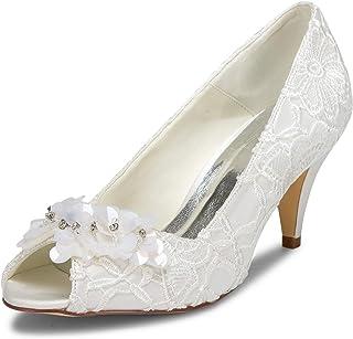 JIA JIA Chaussures de mariée pour Femme 5949420 Peep Toe Cône Talon Dentelle Satin Pompes Satin Fleur Strass Chaussures de...