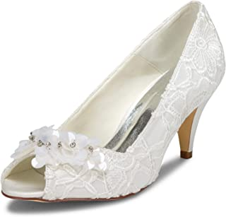 5949420 Women's Bridal Shoes Peep Toe Cone Heel Lace Satin Pumps Satin Flower Rhinestone Wedding Shoes