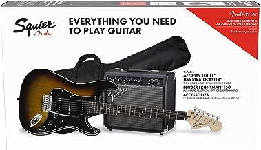 Squier by Fender Affinity Stratocaster Beginner Pack, Laurel Fingerboard, Brown Sunburst, with Gig Bag, Amp, Strap, Cable,...
