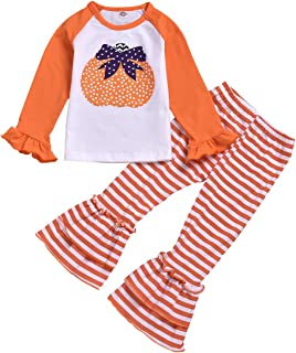 Baby Kids Girls Christmas New Year Xmas Leaf Print Top Dress Stripe Ruched Ruffle Pant Outfit Set
