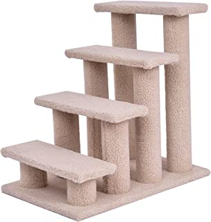 totoshoppet Beige Cat Climber Kitten Steps Pet Stairs Ramp Multi-Platform with 8 Posts