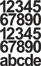 Zwarte cijferstickers huisnummer/vuilnisbak - 10 cm hoog - 25 plakgetallen - zelfklevende cijfers en cijfers 0-9 en letter...