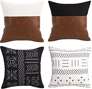 Merrycolor Decorative Throw Pillow Covers Set of 4, Faux Leather Cushion Cover for Couch Sofa 18x18 inch, Boho, Modern Far...