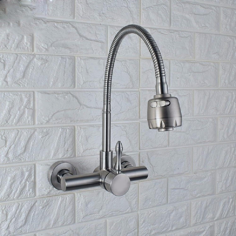 Küche oder Badezimmer Waschbecken Mischbatterie für die Wandmontage Edelstahl 304 kaltes Wasser Wasser Doppel auf 000 Tippen zu drehen Wsche waschen Schüssel Wanne Doppelwaschbecken Leitungswasser ein