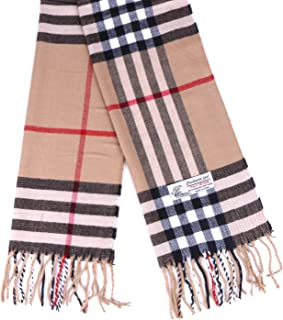 Plaid Cashmere Feel Classic Soft Luxurious Winter Scarf For Men Women