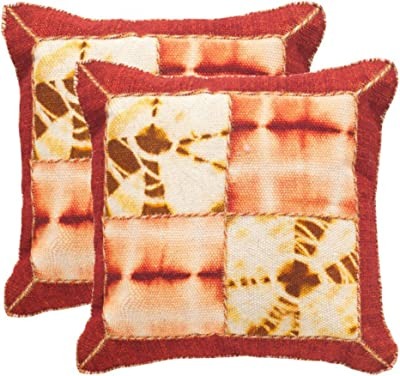 """Safavieh Collection Dip-Dye Quartre Patch Chili Pepper Throw Pillows (24"""" x 24"""") (Set of 2)"""