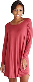 Women's Bamboo Long Sleeve Trapeze Dress, Casual Plain Simple T-Shirt Fit with Pockets - 11 Colors Available