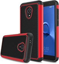 Alcatel TCL LX Case(A502DL), Alcatel 1X Evolve Case, Alcatel Ideal Xtra Case, Elegant Choise Hybrid Dual Layer Shock Absorbing Anti-Scratch Rugged Bumper Armor Defender Protective Case Cover (Red)