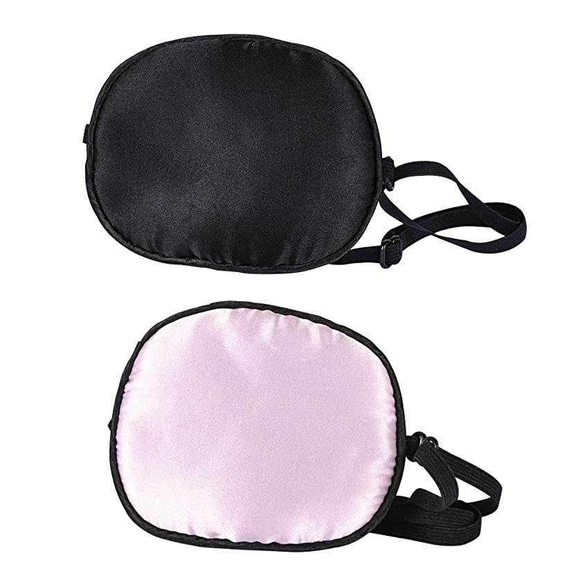 eZAKKA 2 Pieces Silk Eye Patch Elastic Eye Patches Lazy Eye Patches for Adults Lazy Eye Amblyopia Strabismus, Black and Pink