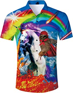 F/_Gotal Mens Shirt Unisex 3D Print Shirts Colorful Space Graphic Tees for Men Women