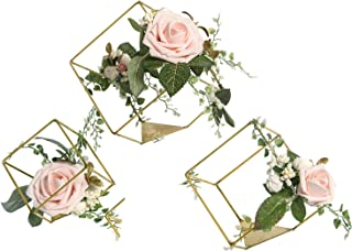 Ling's moment Set of 3 Gold Geometric Wedding Centerpieces Ornaments Blush Rose Flower Table Centerpieces for Wedding Party Decor