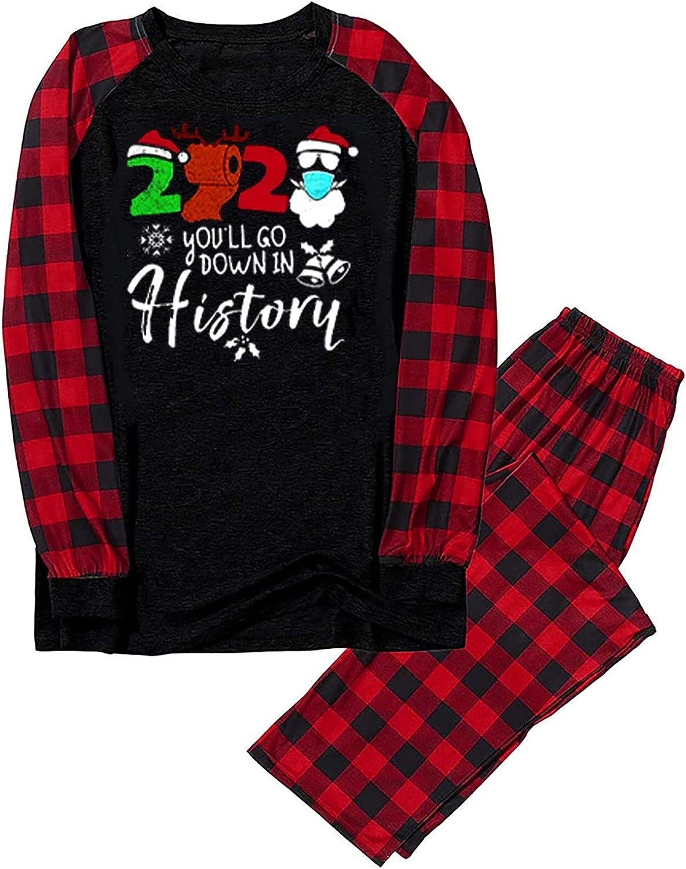 Matching Family Pajamas Christmas Holiday Pjs Couples Cute Graphic Print Sleepwear Long Sleeve Tops and Pants
