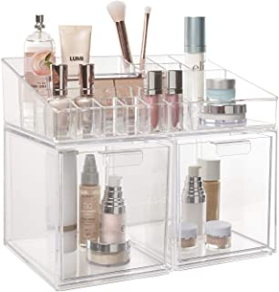 Audrey Stackable Cosmetic Organizer Drawers and Cosmetic and Makeup Palette Organizer Bundle