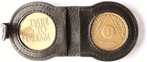 Double Leather Key TAG Black - Coin Size 1 5/16