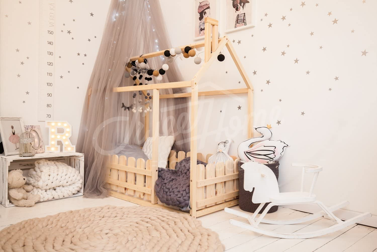 135x190cm Sweet Home from Wood Montessori house bed floor bed