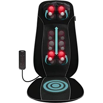 Salter Back Massager Shiatsu Massage Chair Pad Seat Cover, Relax Full Back Neck Shoulder Muscles, Deep Kneading Rolling Vibration Soothing Heat, High Definition Targeted Treatments for Home + Office