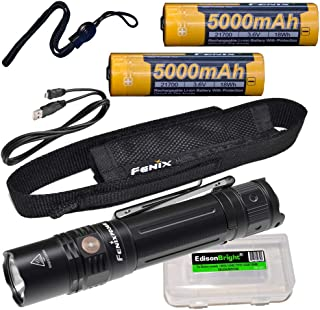 Fenix PD36R 1600 Lumen rechargeable CREE LED tactical Flashlight, additional battery with EdisonBright charging cable carry case bundle