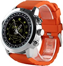 Naroote Smart Watch,Smart Sport Watch Smart Sport Watch, AOWO Watch Pedometer 5ATM 3-Group Alarm for iPhone/Android Tracker (Bright Silver & Orange Belt)