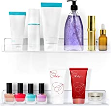 """Estilo Set of 2 Acrylic Clear Wall Mounted Display Floating Shelves For Cosmetics, Photos, Books.- 15"""" inches"""