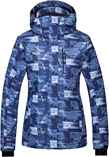 Wantdo Women`s Mountain Waterproof Ski Jacket Windproof Colorful Print Rain Coat