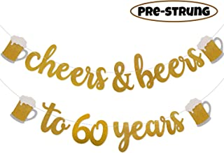Cheers & Beers to 60 Years Gold Glitter Banner for 60th Birthday Wedding Anniversary Party Decorations Pre Strung & Ready To Hang