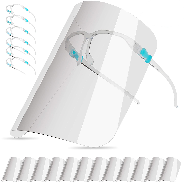 (6 monturas de gafas y 12 viseras para el sol) visera de protección facial transparente, que puede proteger los ojos de la saliva, el humo aceitoso, las actividades diarias y el trabajo.
