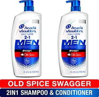 Head and Shoulders Shampoo and Conditioner 2 in 1, Anti Dandruff Treatment and Scalp Care, Old Spice Swagger for Men, 31.4 fl oz, Twin Pack