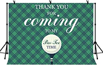 LYLYCTY 7x5ft Golf Backdrop for Welcome Par-Tee Time Banner Party Decorations Green Grid Background Studio Props LYZY0824