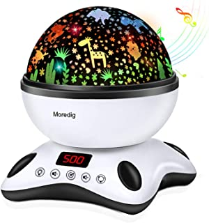 Moredig Night Light Projector, Remote Control and Timer Design Rotating Night Light, Built-in 12 Songs and 8 Colorful Ligh...