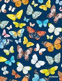 Notebook: Butterfly Navy Blue Journal Notebook