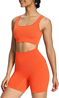 Aoxjox 2 Piece Outfits for Women Ribbed Crop Tank High Waist Seamless Shorts Workout Sets