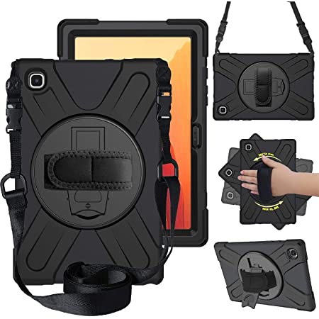 """ProElite Rugged 3 Layer Armor case Cover for Samsung Galaxy Tab A7 10.4"""" SM-T500/T505/T507 Hand Grip and Rotating Kickstand, Black"""