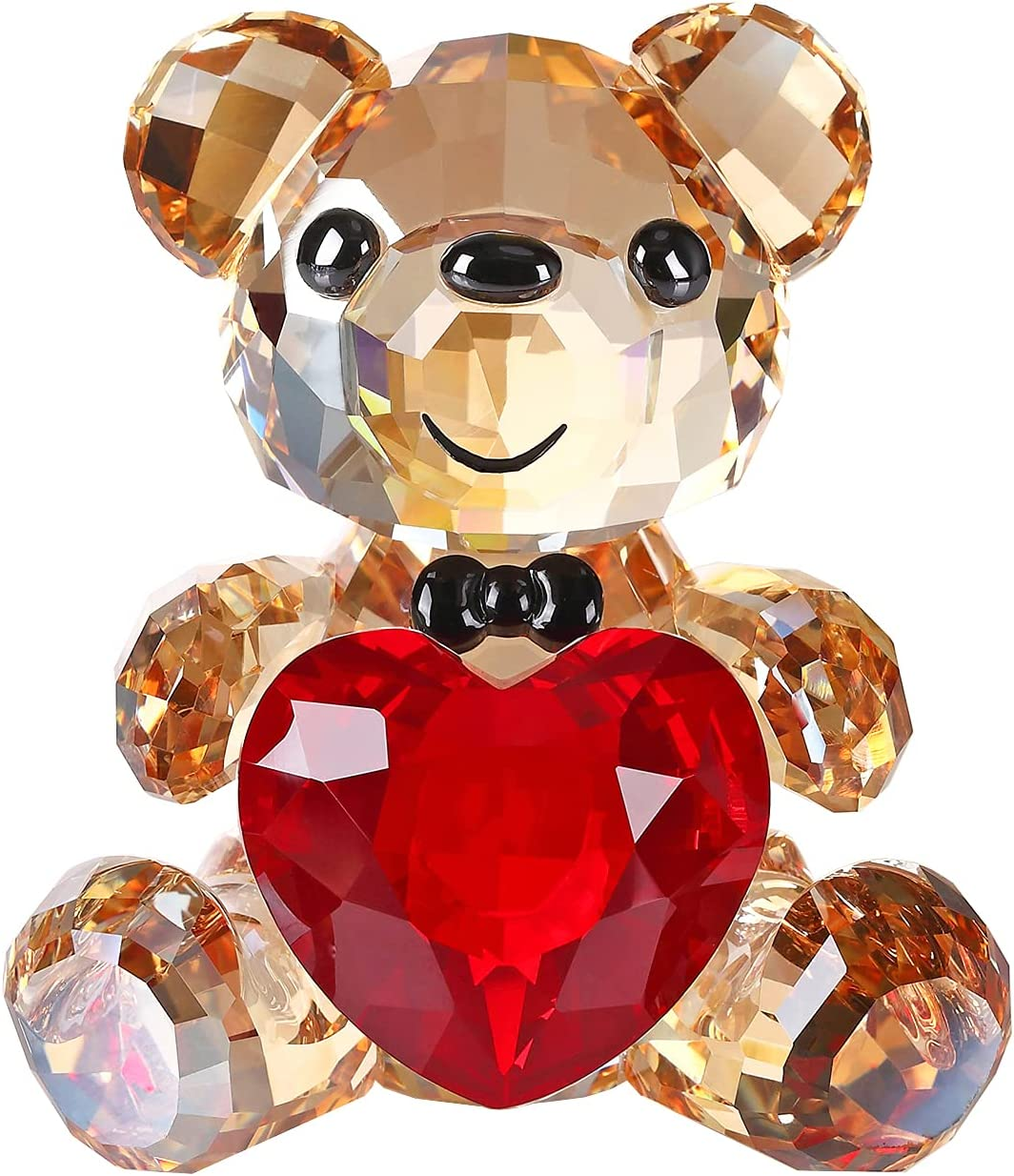 Crystal Sale High material special price Teddy Bear Figurine Red Heart Animal Lovely Collectible