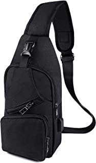 Henvren ボディバッグ ショルダーバッグ USBポート搭載防水ワンショルダーバッグ 撥水加工のナイロンバッグ 軽量 ワンショルダー 斜め掛け バッグ Pad mini 収納可 ブラック 黒 AA01