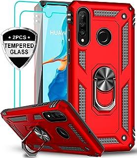 LeYi Funda Huawei P30 Lite Armor Carcasa con 360 Anillo iman soporte hard PC y silicona TPU bumper antigolpes Fundas Carcasas Case para movil P30 Lite con HD Protector de Pantalla,Roja