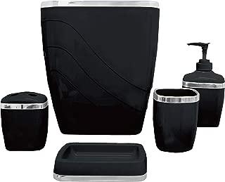Carnation Home Fashions 5-Piece Plastic Bath Accessory Set, Black