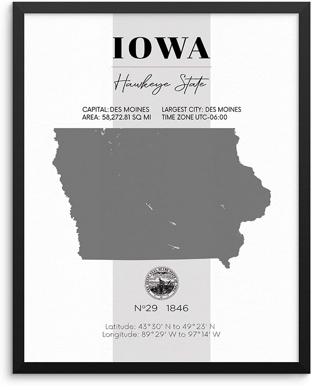 Amazon.com Iowa State Map Poster With Demographics Minimalist ...