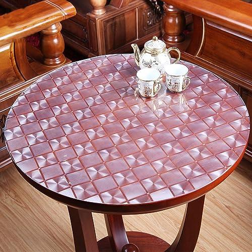 LITINGMEI Tablecloths PVC-runde Tischdecken-Küche-Wasserdichte Tischdecken-tranSpaßente Weiße Glaskristallplatten-Plastik Tischdecken (Farbe   C, Größe   110  110cm)