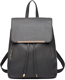 Miss Lulu Women Leather Backpack Girls School Bag Ladies Fashion Shoulder Bag Drawstring Daypack Travel Rucksack