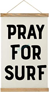 VinMea Canvas Wall Hanging Pray for Surf Wooden Frame Banner Wall Art Sign Décor